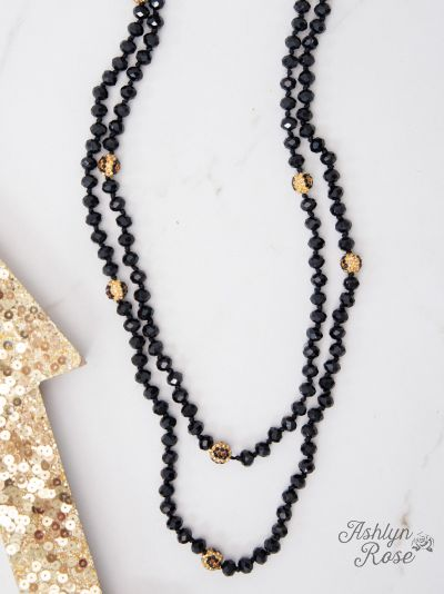 Leopard Black Curious Crystals Double Wrap Beaded Necklace