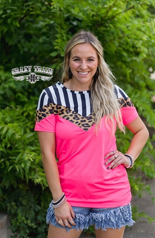 Neon Pink Leopard stripe crazy train top