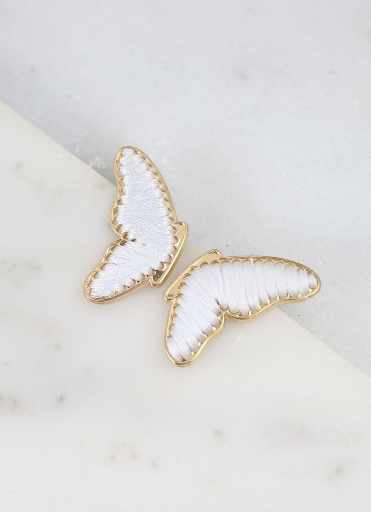 Ivory Thread Gold Wrapped Butterfly Wing Earrings