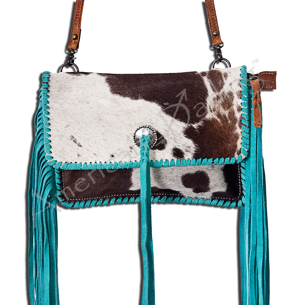 She's Gone Country Brindle & turquoise braided leather purse