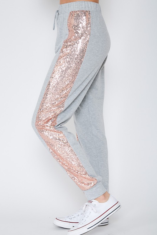 Soft & Cozy feels Grey & Pink sequin Pants