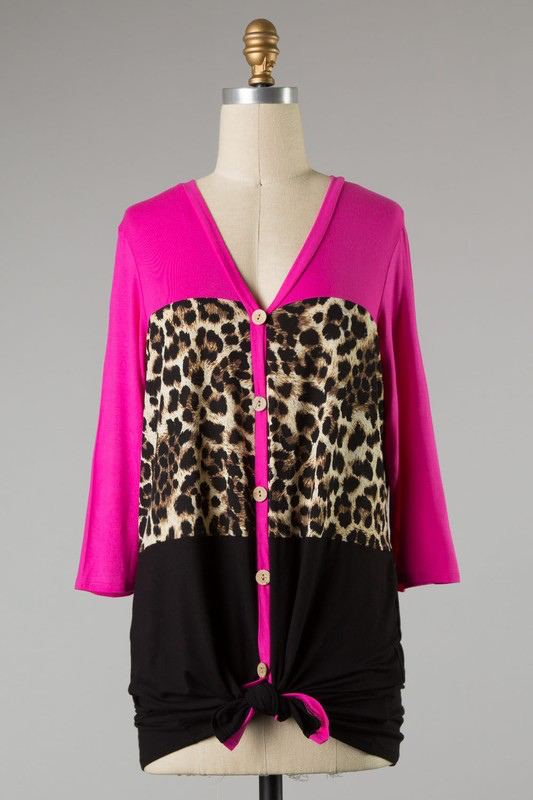 Fuchsia Leopard Print Color Block Top