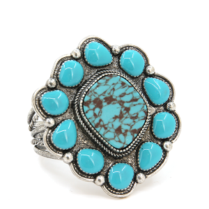 Turquoise silver concho cuff