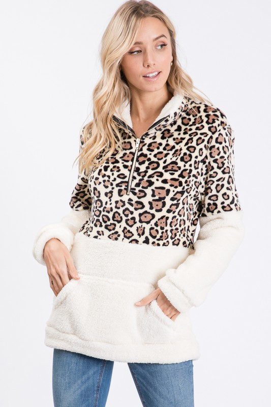Tan Leopard pull over sweater