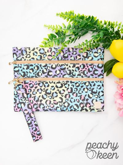 Give it A Swirl Neon Leopard Double Zipper Versi Bag