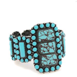 Turquoise silver stone cuff