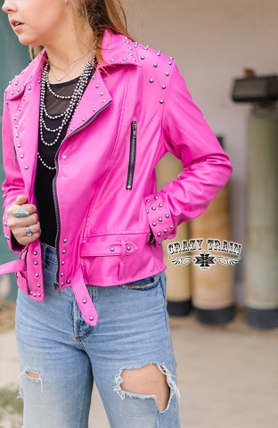 Barbie Pink Camaro Studded Jacket by Crazy Train