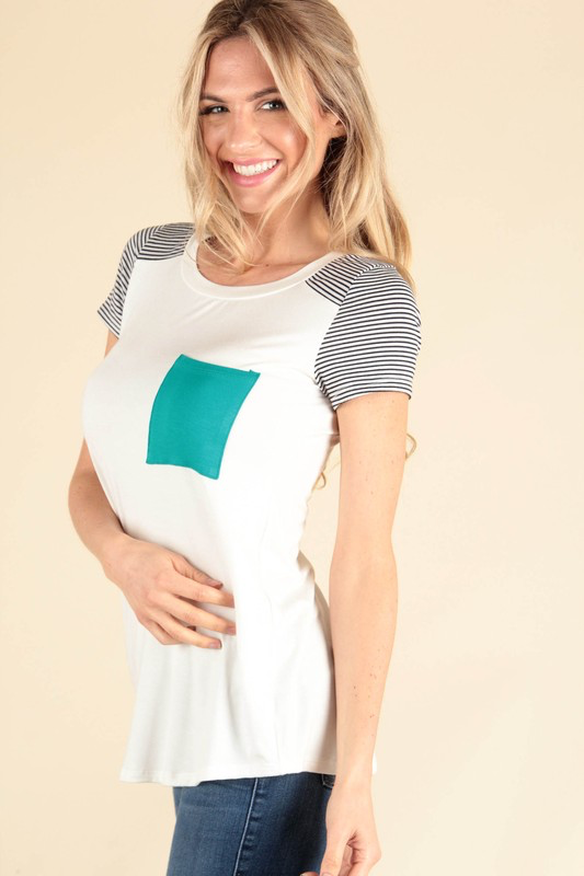 Stripe Sleeve Top with Teal Pocket