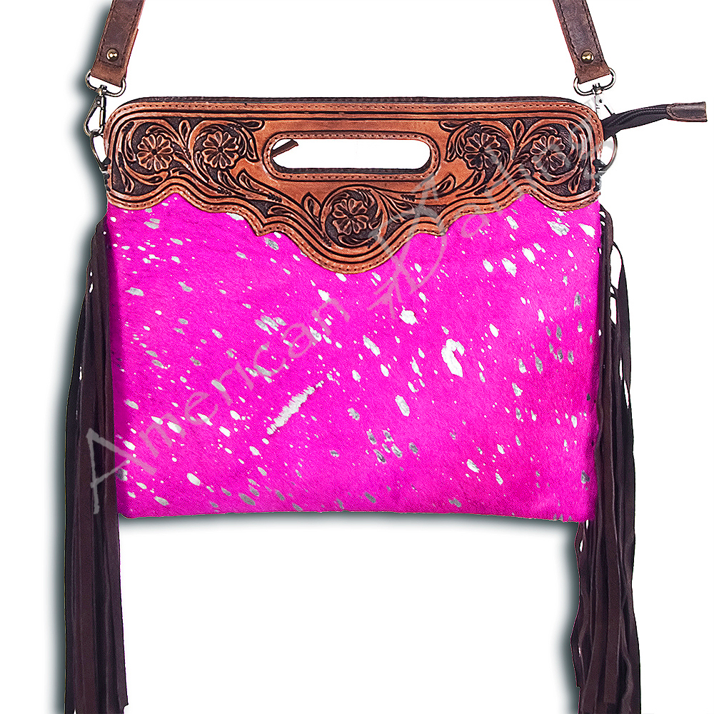 Hot Pink Acid Wash with Fringe Clutch/Crossbody