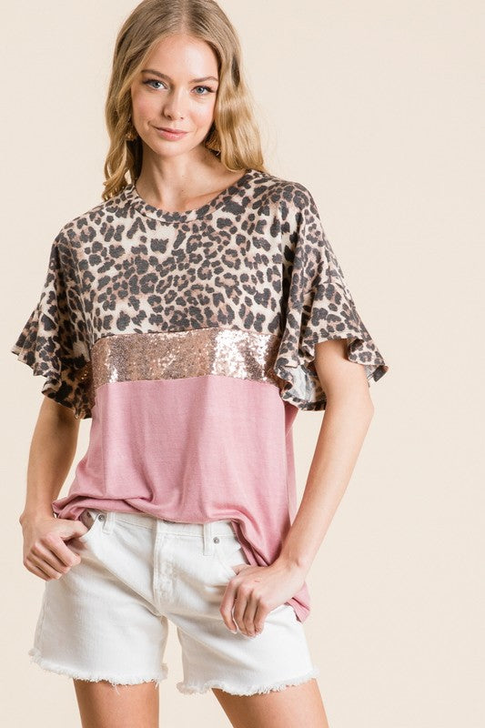 Rose Leopard Ruffle Sleeve Sequin Blouse