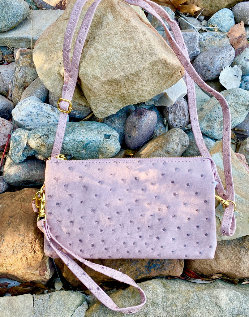 Blush Ostrich Crossbody/Wristlet