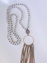 Shimmer Ivory Beaded Lilac crystal & Taupe Fringe Necklace