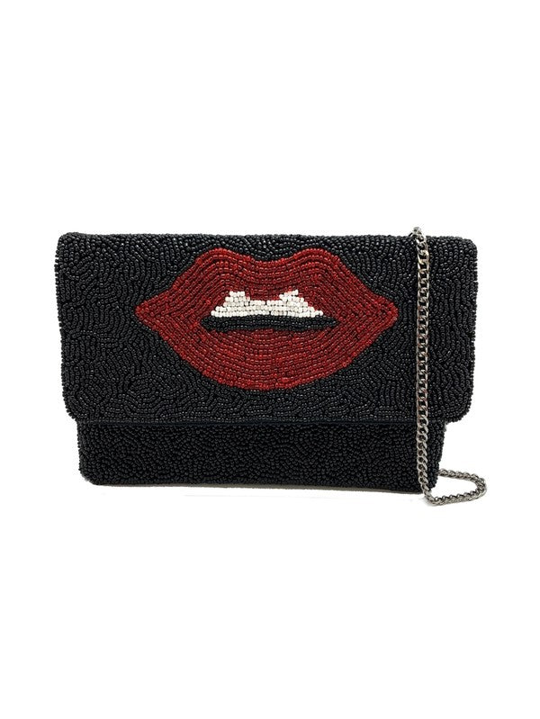 Black & Red Hot Lips Beaded Clutch Cross Body Purse