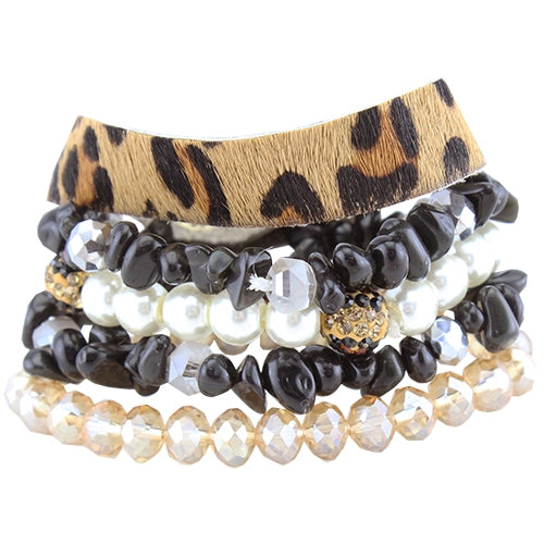 Black & Leopard Beaded Bracelet Stack