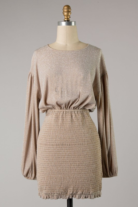 Southern Gal Taupe Sparkle Dress