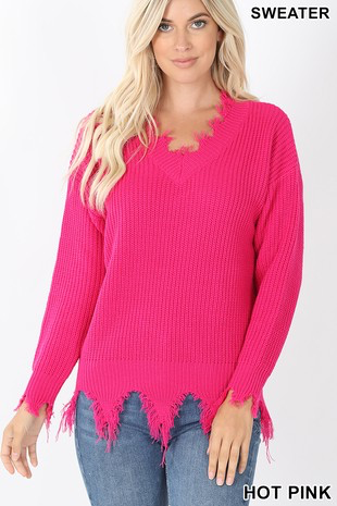 Hot Pink Cozy Feels Frayed Sweater