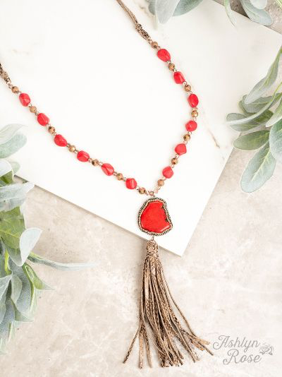 Python Tassel Red Pave Stone Necklace
