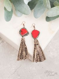 Python Days Red Pave tassel earrings