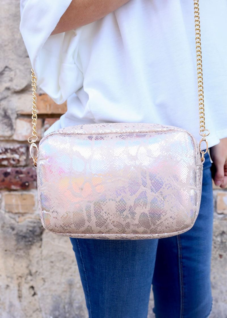 Gold Hologram Snake Millie Purse