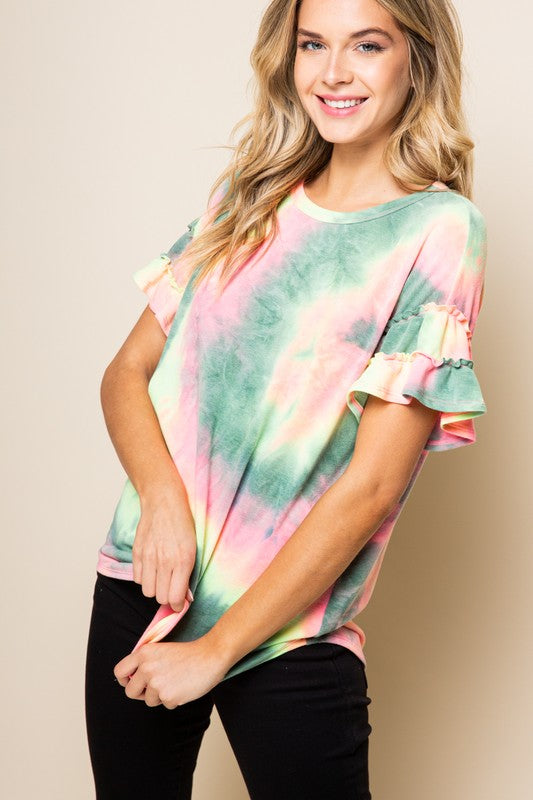 Emerald Tie Dye Scoop Neck Ruffle Sleeve Blouse