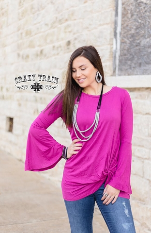 Knot for long Plum Flare sleeve blouse by Crazy Train
