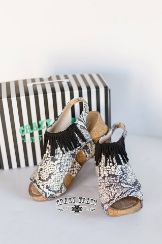 Stomp Right There Python fringe wedges by Crazy Train