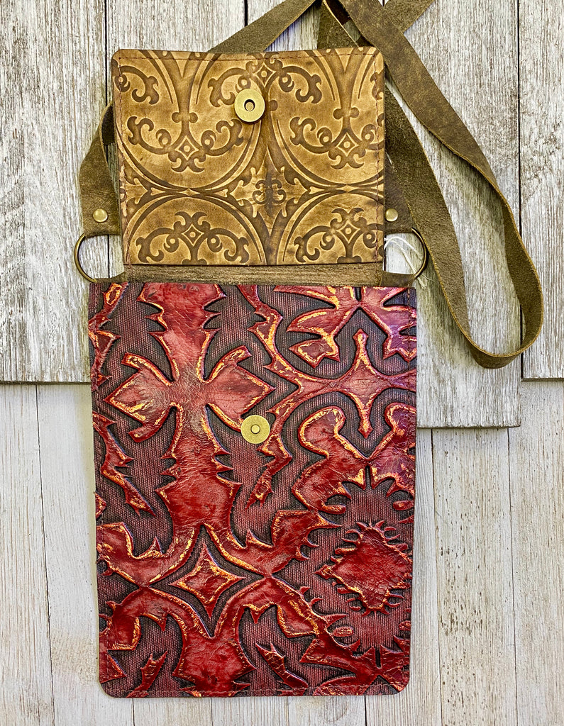 Deep Red Tooled Tonya Crossbody Purse