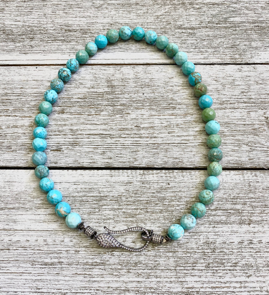 Chunky African Turquoise w/ Pave hook Necklace