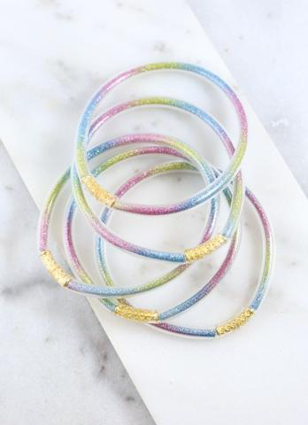 Multi Color Glitter Tube Bracelet Set