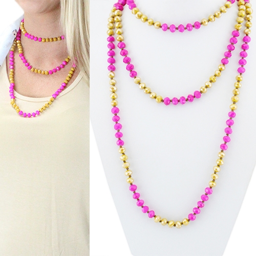 Pink & Mustard beaded necklace
