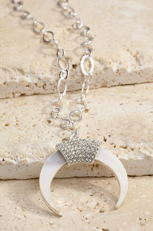 Tusk Shell Rhinestone Silver Necklace