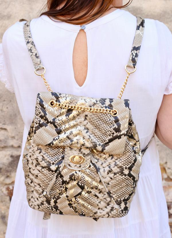 Metallic Parvey Quilted Back Pack Snake Purse