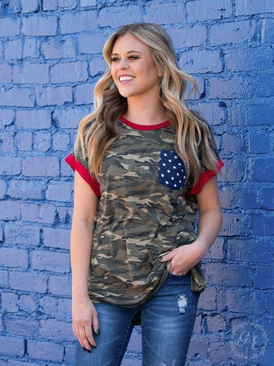 Camo Red white & Blue God Bless USA Tee