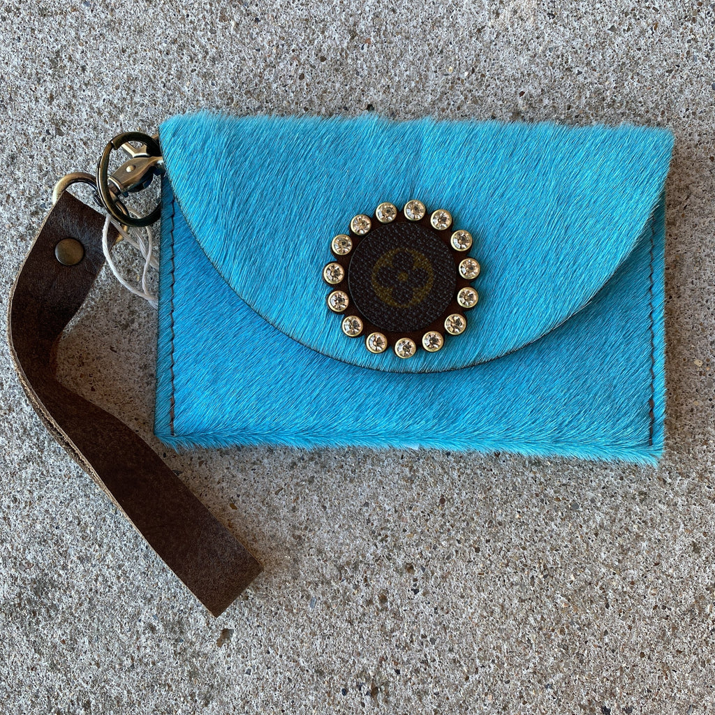 Bright Blue Hair on  Hide AB Crystal Upcycled Wristlet