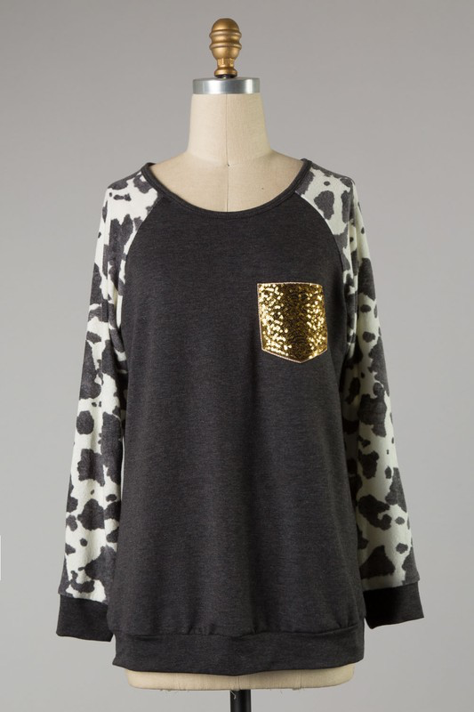 Cow Town & Cozy charcoal blouse