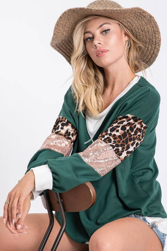 Come on over & snuggle Green Leopard sequin sleeve blouse
