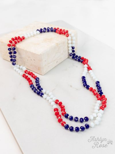 USA Red White Blue Shimmer Beaded Necklace
