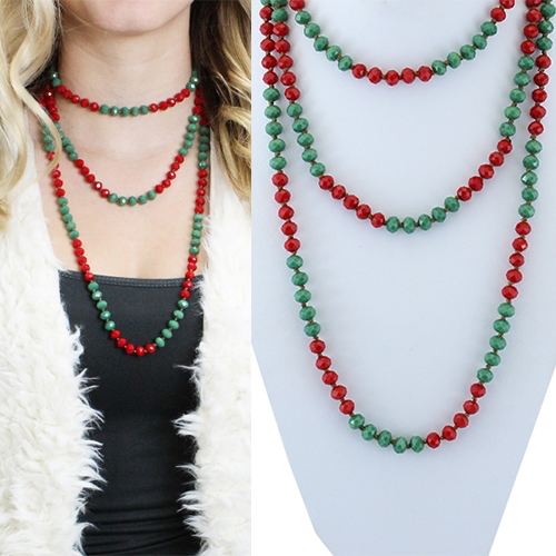 Red & Green shimmer beaded necklace