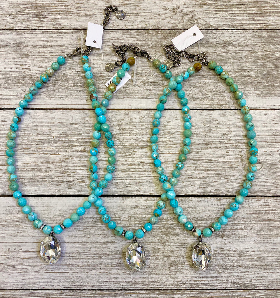 Turquoise girl AB crystal necklace