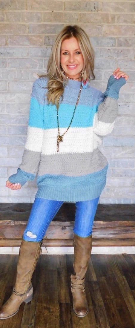 In The Mix Blue Popcorn Sweater