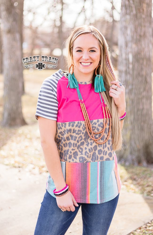 Polly Pattern Leopard & Serape Block Top by Crazy Train