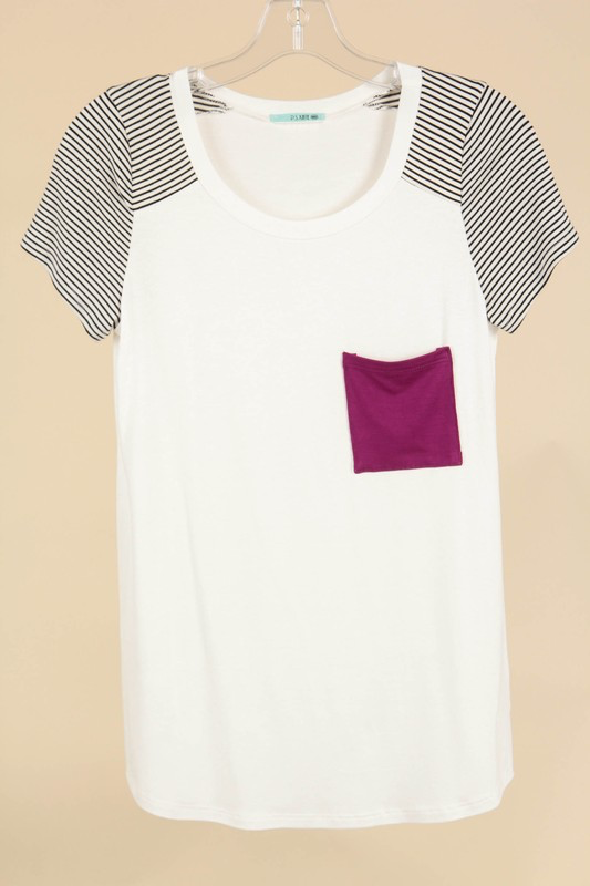 Stripe Sleeve Top with Magenta Pocket