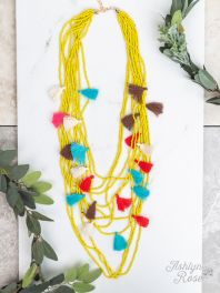 Two Tickets to Paradise Beaded Tassel Necklace ~ Yellow