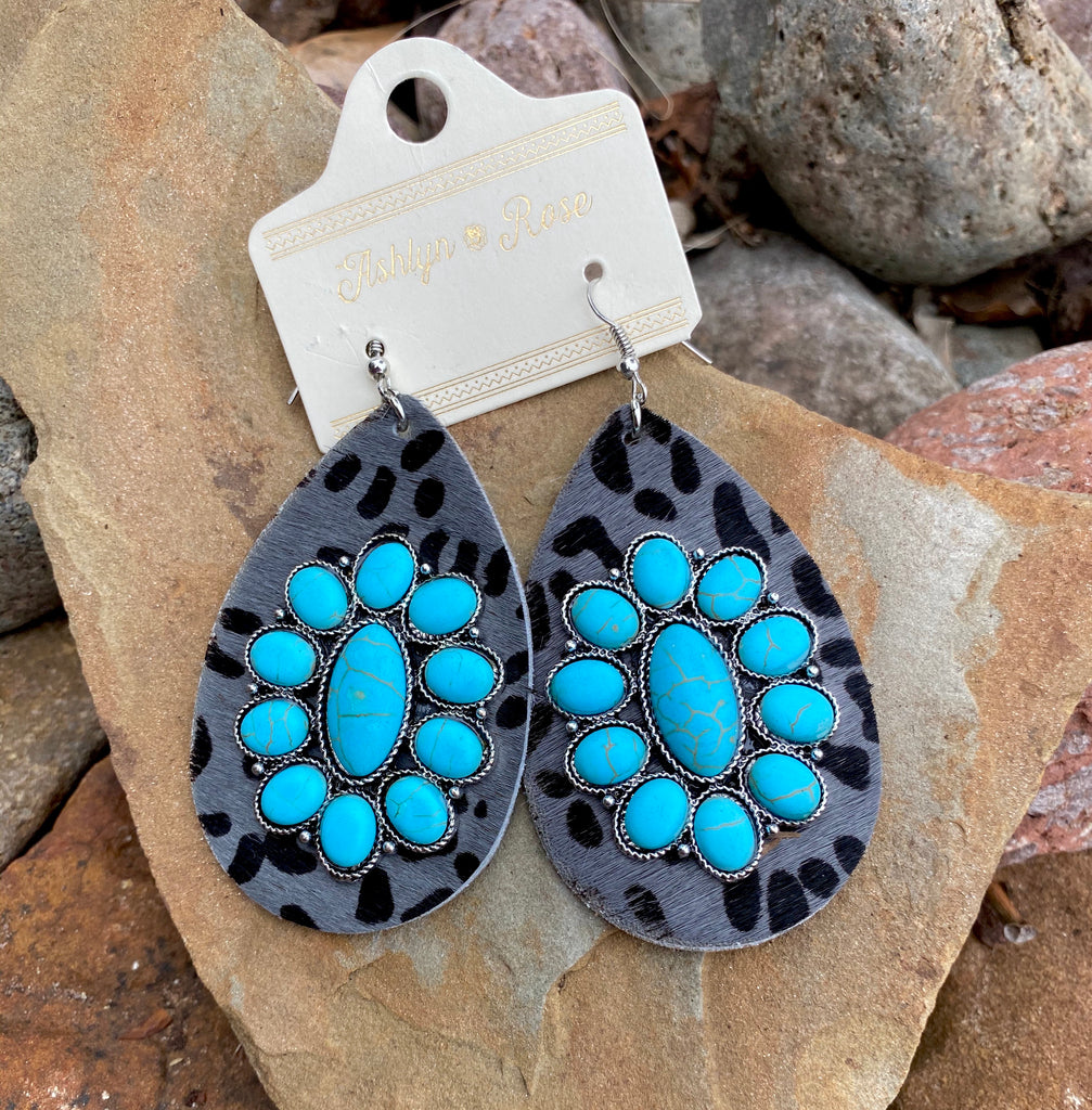 Charcoal Leopard Teardrop w/Turquoise Floral Stone Earrings