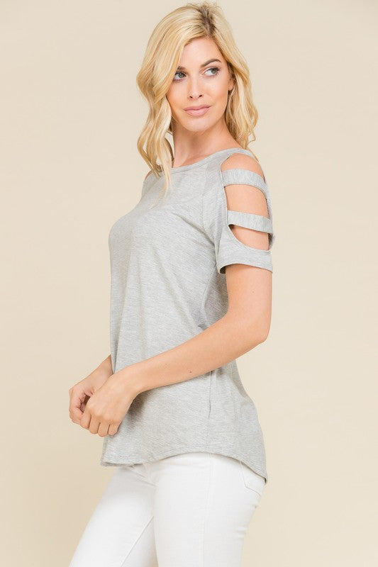 Heather Grey Slit Sleeve Causal Blouse