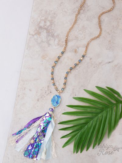 Mystical Mermaids Druzy Tassel Necklace