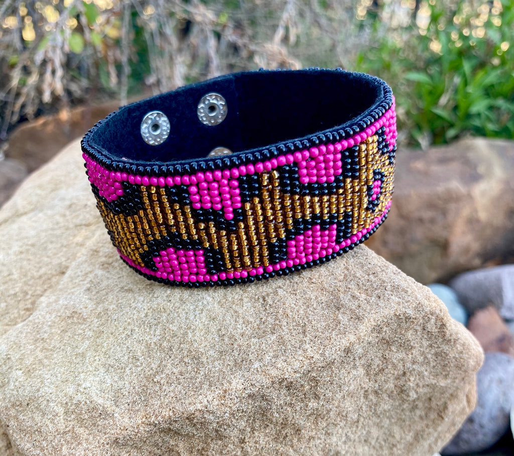Fuchsia Leopard Beaded Snap Cuff