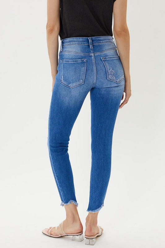 She's Fancy Frayed Light Denim Skinnies By Kan Can