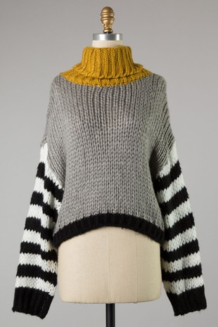 Cozy In Stripes Turtle Neck Sweater