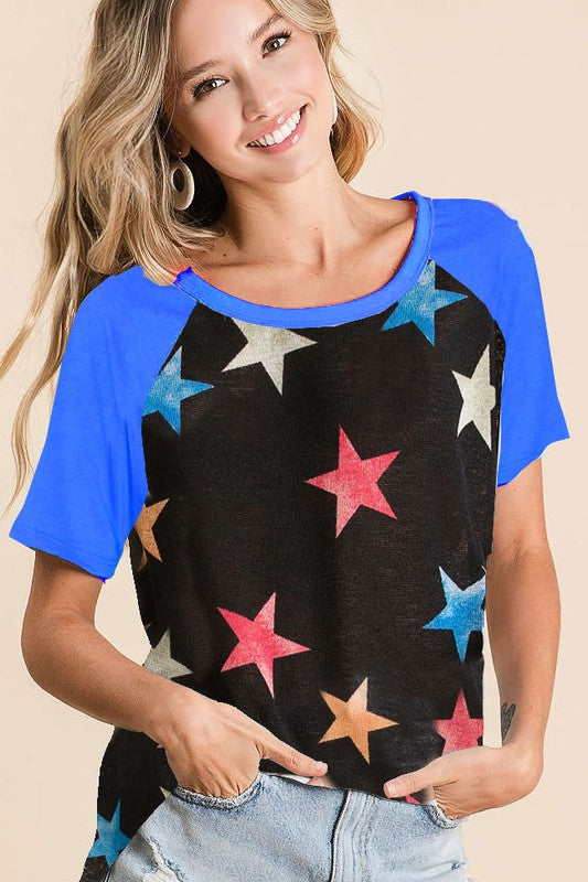 Black Blue Stars Blouse